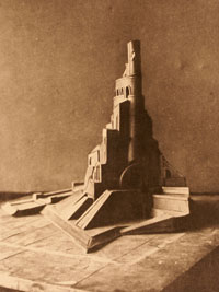Yakoulov's prize winning model of the Monument to the Twenty-Six Commissars of Bakou  presented at the International Exhibition in Paris 1925.